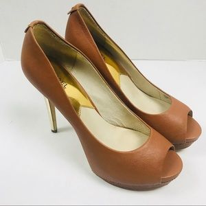 MICHAEL KORS Tan open toe leather stiletto heels
